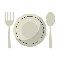 plate spoon fork utensils vector image