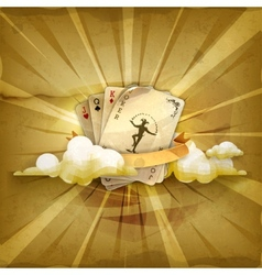 Playing cards with a joker old style background vector image vector image
