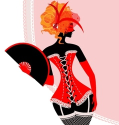 red lady in corset with fan vector image vector image