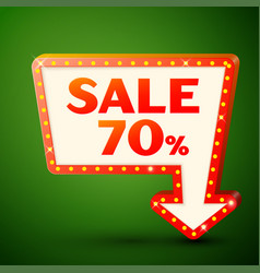 Retro billboard with sale 70 percent discounts vector