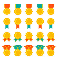 Set of medals badges or awards with ribbons flat vector