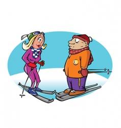skiers vector image