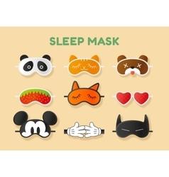 Sleeping masks set face of animals heart fruit vector