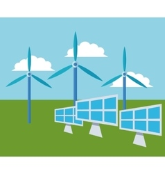 Solar panel and wind mill design vector