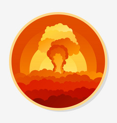 Stiker with clouds nuclear explosion and power vector