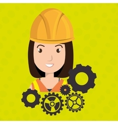Woman construction tool gears vector