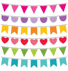 Bunting flags set vector