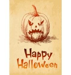 Happy Halloween pumpkin Jack O Lantern drawn in a vector image