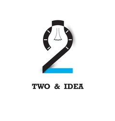 Two number icon and light bulb abstract logo vector
