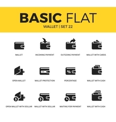 Basic set of wallet icons vector