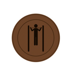 Brown circular frame with gymnastic training in vector