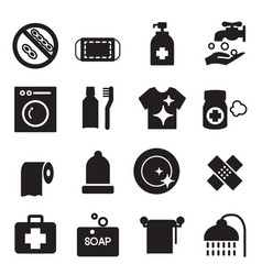 Silhouette hygiene icons set vector
