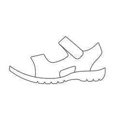 Men summer brown leather sandals on a bare foot vector
