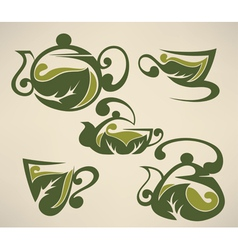 herbal tea symbols collection vector image