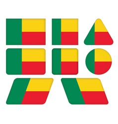 Buttons with flag of benin vector