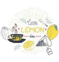 Love lemon tea card vector