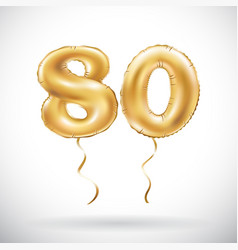 Golden number 80 eighty balloon party decoration vector