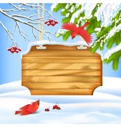 Winter Landscape Birds Wooden Board vector image
