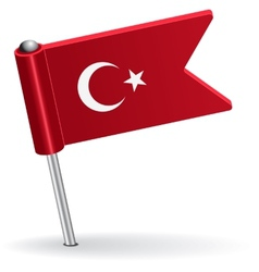 Turkish pin icon flag vector