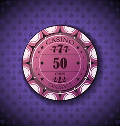 Poker chip nominal fifty on card symbol background vector
