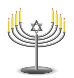 Menorah with burninng candles vector