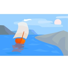 Sea landscape with sailing boat coast and mountai vector