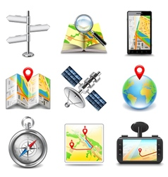 Maps and navigation icons set vector