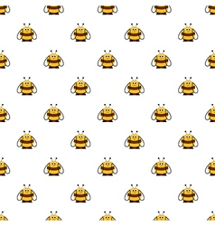 Seamless pattern with cute comic bees vector