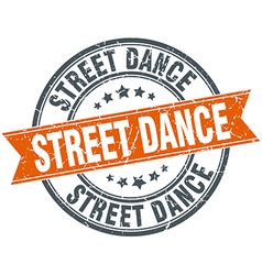 Street dance round orange grungy vintage isolated vector
