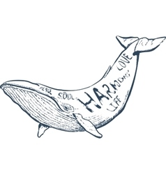 With whale nautical hand vector