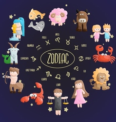 Zodiac color sign symbol cartoon vector