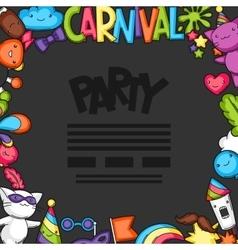 Carnival party kawaii flayer cute cats vector
