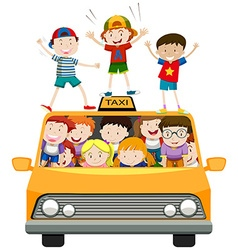 Children riding on taxi vector image vector image