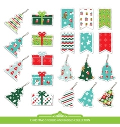 Christmas stickers and labels set vector image vector image