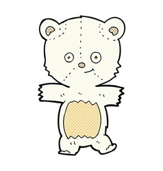 Cute comic cartoon polar bear vector