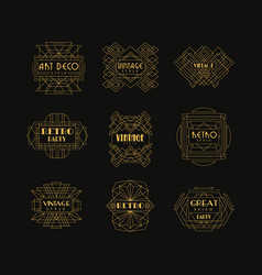 Decorative golden logo set in vintage style vector