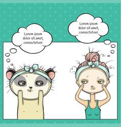 Facial treatment of girl and panda masking for vector