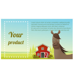 Farm animal and rural landscape with horse vector