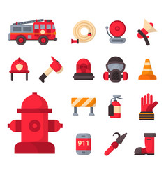 fire safety equipment emergency tools firefighter vector image