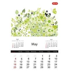 Floral calendar 2014 may vector image
