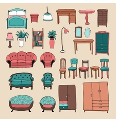 Furniture and home accessories icons set vector image