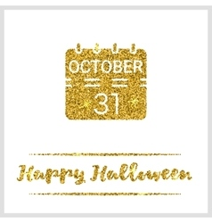 Halloween gold textured calendar icon vector