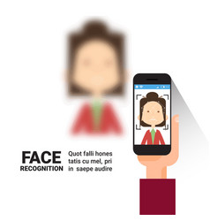 Hand holding smart phone scanning woman face vector