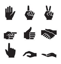 Human hand symbol icon set vector
