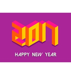 Isometric happy new year 2017 in colorful 3d vector