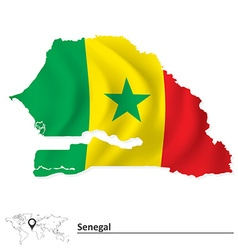 Map of Senegal with flag vector image vector image