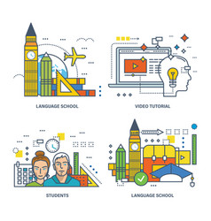 Modern education language schools training video vector