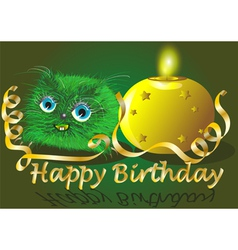 monster wishes happy birthday vector image vector image