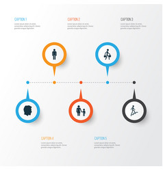 People icons set collection of gentleman male vector