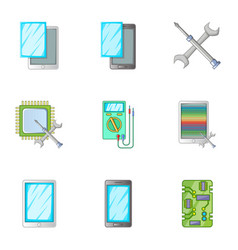 Phone repair servise icons set cartoon style vector